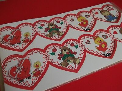 VTG.VALENTINE GARLAND~DECORATION,CRAFT-SUZYS ZOO-10 FEET OF UNUSED CUTENESS!! - Vintage Valentine Decorations