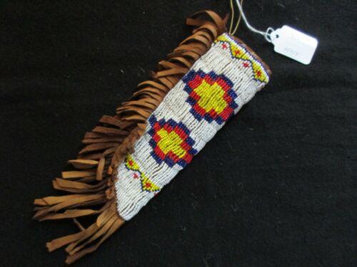 NATIVE AMERICAN BEADED LEATHER KNIFE SHEATH, FROM SOUTH DAKOTA,  SD-0821*05757
