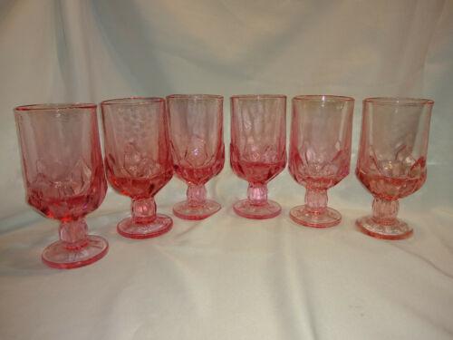 SET OF 6 VINTAGE PINK, TIFFIN CABARET FRANCISCAN ICED TEA / WATER GOBLETS