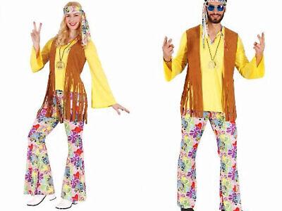 Hippie Kostüm Damen Herren 4tlg. Hippiekostüm 60er 70er Jahre Karneval Fasching