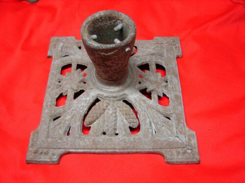 Antique Cast Iron Christmas Tree Stand Feather Pine Cone & Star Design L@@K #6