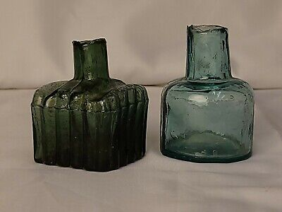 Antique Inkwells Lot Of Two Green And Blue Glass As Is Condition