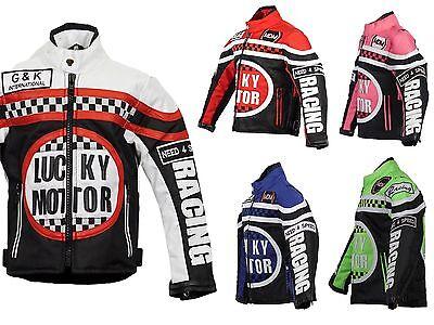 Kinder Motorradjacke Bikerjacke Motorrad Racing Winddicht Patch Biker Rocker  (Racing Jacken)