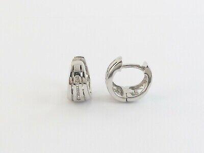 14k White Gold Diamond Hoop Huggie Earrings Fashionable Diamond Huggie Earrings