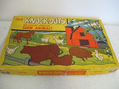 VINTAGE CARDBOARD FARM ANIMALS STAND UP IN BOX 1950 KNOCK OUTS  CELCO TOYS ](Cardboard Animals)