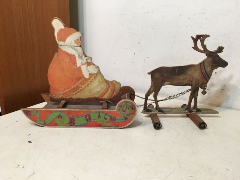 Antique Litho On Wood Santa On Sleigh W/ Reindeer German Bliss Type Toy Decor