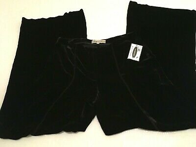 BLACK VELVET PANTS i.t.w. by Claude Brown WOMENS Size 6 Dressy Rayon Silk  NWT