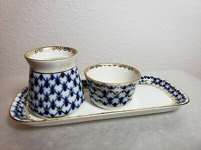 Lomonosov Russia Cobalt Blue & Gold Net Porcelain Creamer & Open Sugar Tray #1 Lomonosov Blue Net