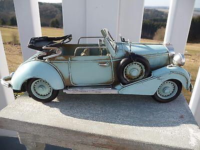 Nostalgie Auto Cabriolet Oldtimer Blechauto Retro Antiklook Blau 12x32x13cm NEU*