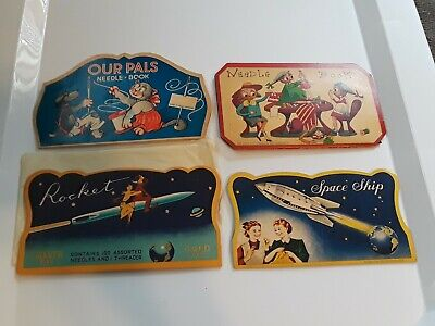 4 Antique Vintage Advertising Sewing Needle Books AMAZING GRAPHICS!