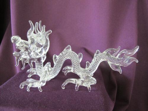 "Wonderful Clear Glass Asian Dragon Figurine- 6.5"" Long"