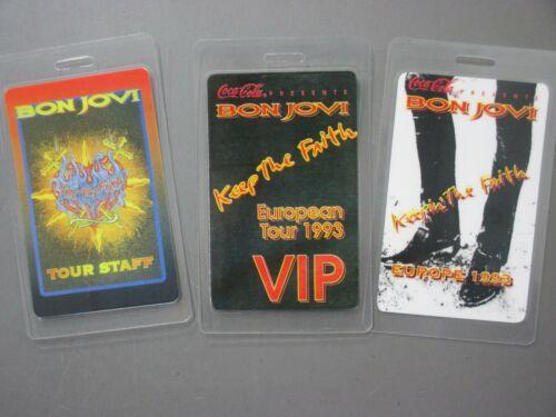 Bon Jovi backstage passes 3 laminated Keep The Faith 1993 AUTHENTIC !