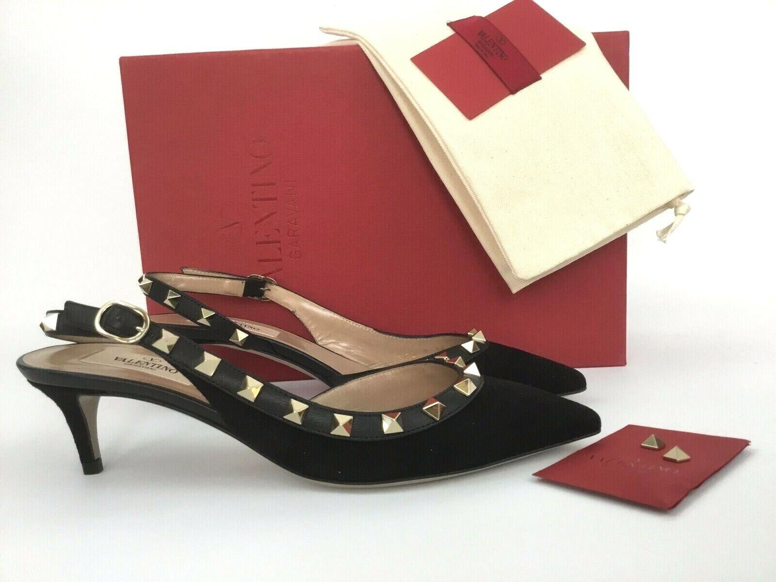 40 VALENTINO GARAVANI Rockstud Black Suede Slingback Pumps Heels Shoes Sandals