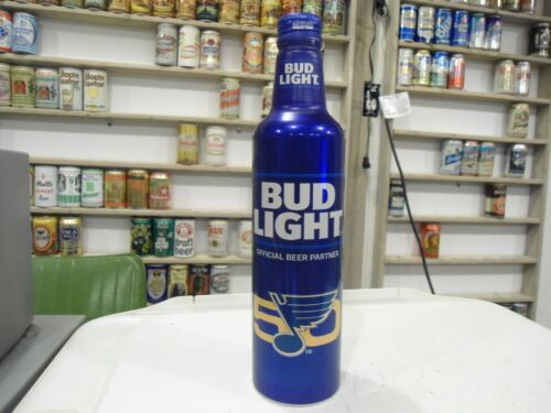 BUD LIGHT ST LOUIS BLUES 50 YEAR ALUMINUM BEER BOTTLE CAN WITH CAP NHL HOCKEY