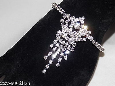 WEDDING BRIDAL FLEXIBLE CLEAR RHINESTONE ARMBAND BRACELET W. FRINGE RHINESTONE