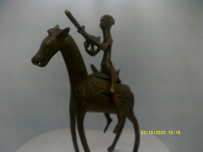 antique african benin bronze tribes man on a horse with a gun