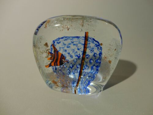 Art Glass Paperweight with Angle Fish Colors Blue, Orange and Gold Dust