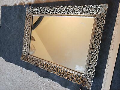 Vintage 11x15 Heavy Vanity Metal Embossed Mirror Tray