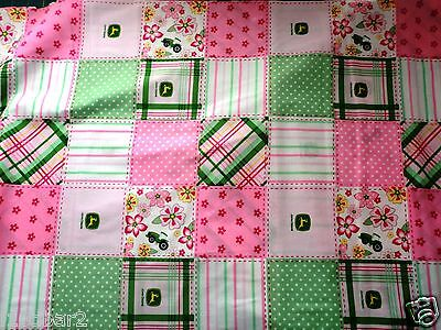JOHN DEERE FABRIC PINK GREEN tractor FABRIC John Deere Madras Patchwork  NEW BTY for sale  Shipping to India