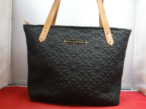 PM2 Petunia Pickle Bottom Downtown Black Quilted Detailed Zip Tote