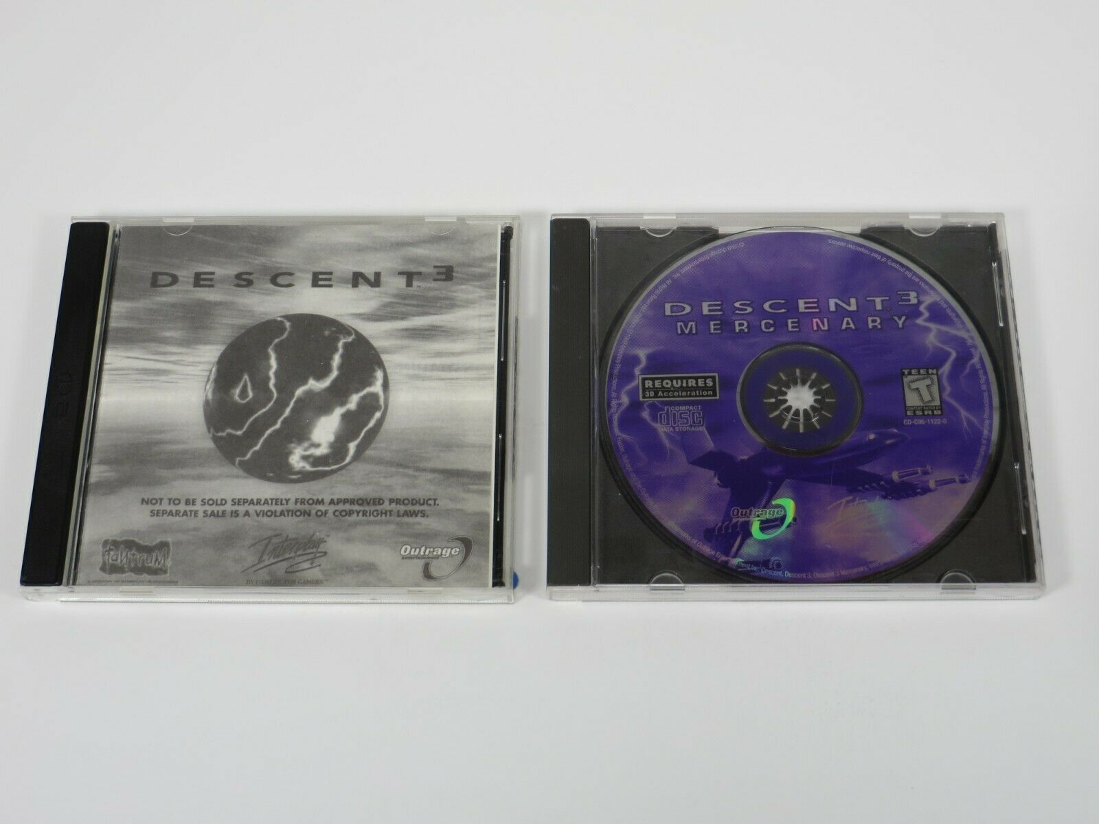 Computer Games - Descent 3 Discs 1, 2, + Mercenary (PC, 1999) PC Vintage Computer Game Interplay
