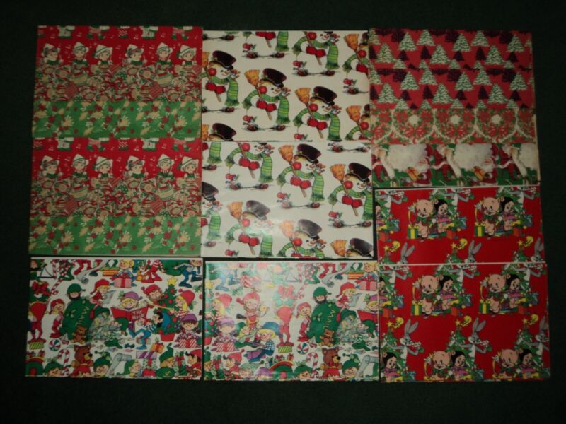 Lot of 16 Sheets Of Vintage 70s 80s Christmas Wrapping Paper Loony Tunes ELVES +