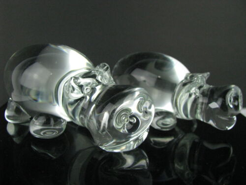 Pair (2) Clear Blown Glass Hippos Figurine or Paperweight Mother + Child Cute!!