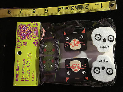 HALLOWEEN PARTY ACCESSORIES 6 FELT CLIPS  2 WITCH  2 CAT  2 SKULL - Halloween 6 Clips