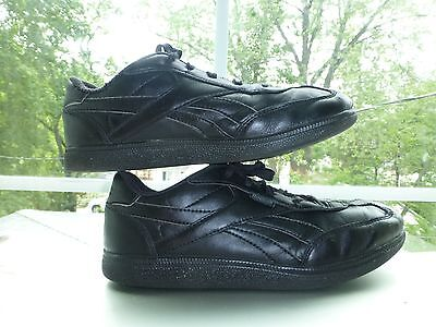 REEBOK Boys Black LEATHER Casual Lace-Up SHOES SNEAKERS Size 2 1/5 Youth 2.5 ()