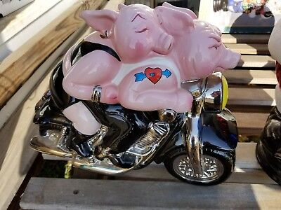 CLAY ART HARLEY DAVIDSON MOTORCYCLE COOKIE JAR BIKER HOGS PIG HAND PAINTED 1999 , used for sale  Knoxville