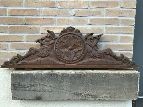 Antique French Carved Wood Architectural Pediment From Brittany II