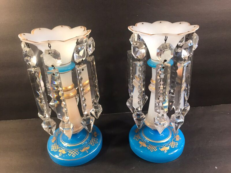 A Pair Of Antique French Opaline Glass Lustres/2 Color/ Probably Baccarat/C.1900