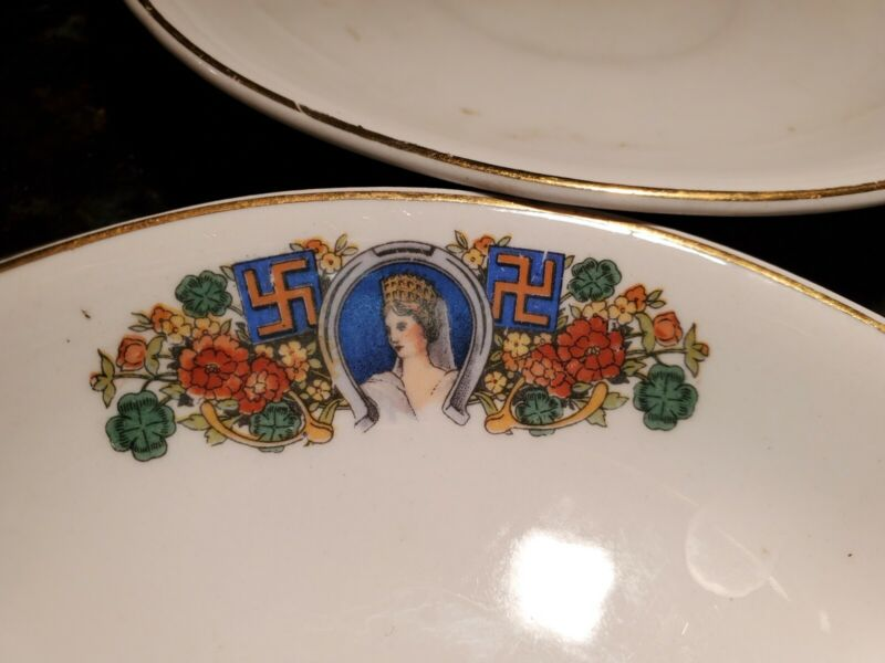 RARE 1900S OWEN MINERVA LADY LUCK SWASTIKA CHINA FLORAL; 4 Saucers.