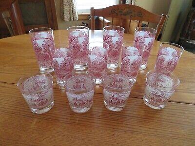 Vintage Memory Lane 12 Piece Set of Beverage Drinking Glasses Tumblers Beverage Set 12 Piece