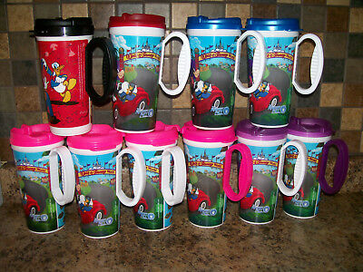 Walt Disney World Mickey Rapid Fill Refill Travel Mugs Cups Lot of 10 With Lids