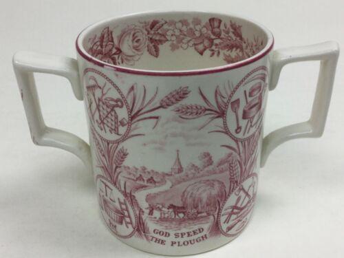 "Antique Staffordshire Red TransferwareGod Speed the Plough Mug "" Bee Farmer"""