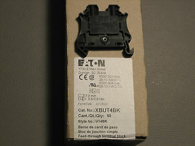 Eaton XBUT4BK DIN Rail Mount Terminal Block NEW Box Of 50 Sealed 26-10 -