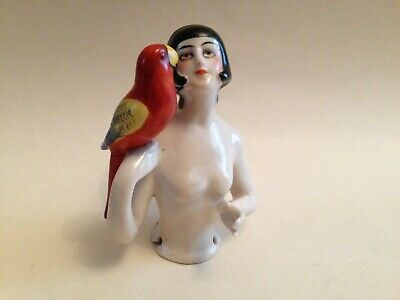 Rare Antique German Art Deco Naked Half Body Pincushion Doll With Parrot A/F