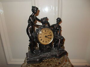 FANCY ART DECO PAINTED BRONZE LADY ANGEL CHERUB FIGURINE CLOCK STATUE FRENCH