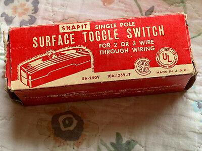 Snapit Black Single Pole Surface Mount Toggle Switch 1231 New Vintage Old Stock