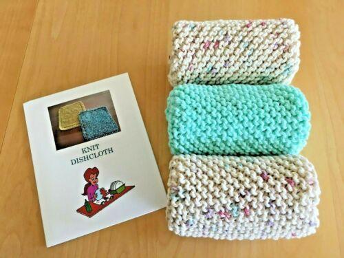 NEW Set of 3-  DISHCLOTHS / WASHCLOTHS for  $9.95 w/ Knitting Directions & FS