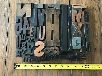Letterpress Print Type Wood Letter And Number Group - 43 Pieces