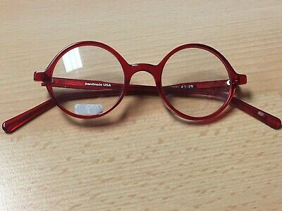 WOMENS / GIRLS RED ROUND PLASTIC EYEGLASS FRAMES 43-20-135 cute!! NEW UNUSED