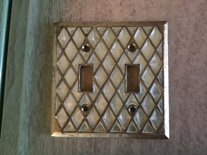 Vintage Brass Double Light Switch Plate Cover Mother of Pearl