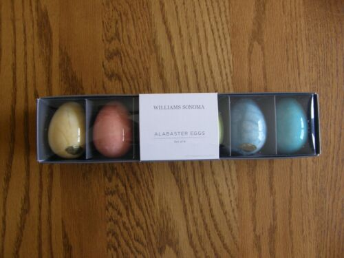 Set of 6: Williams Sonoma Alabaster Eggs - Made in Italy - Easter - New
