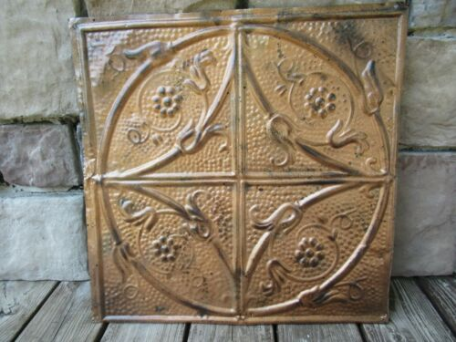 EARLY ANTIQUE ORNATE TIN CEILING WALL TILE COPPER COLOR FINISH OLD SALVAGE METAL