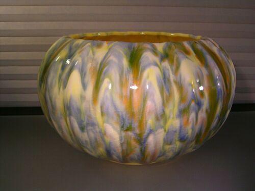 Arts Crafts Japanese Awaji Flambe Crackle Pottery Bowl