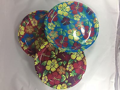 3 pcs. ROUND SERVING PLATTER TRAYS Hawaiian Luau Beach Party Supply Decor - Luau Gift Bags