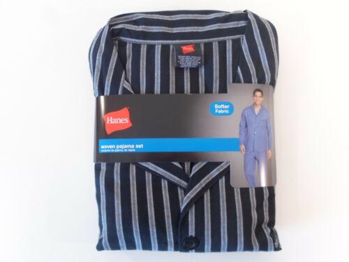 NWT Mens Hanes Woven Pajama Set Stretch Elastic Waist Grey Stripe S M L XL 2XL