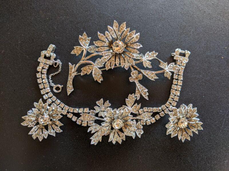Vintage Christian Dior Mitchel Maer Tremblant Rhinestone Bracelet Earrings Pin